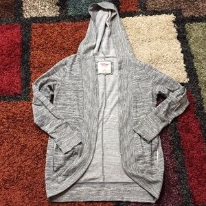 Grey Hoodie Cardigan with Pockets